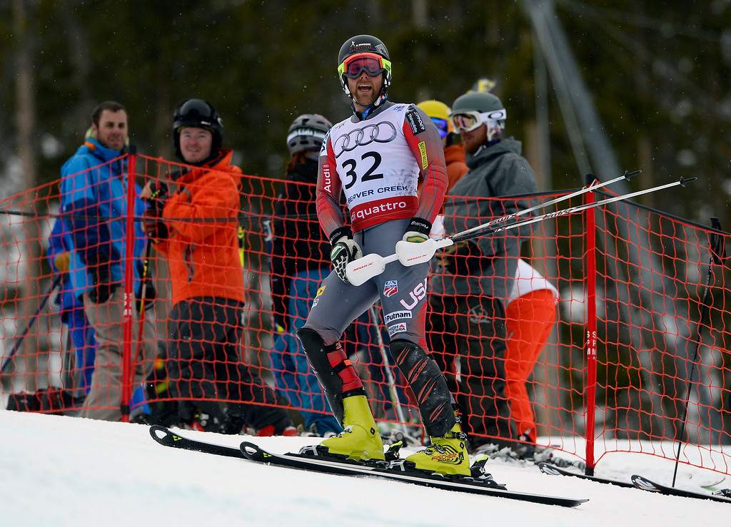 . BEAVER CREEK, CO - FEBRUARY 15: Will Brandenburg of the United States reacts to coming out of a gate during his first run of the Men\'s slalom during the FIS  Alpine World Ski Championships in Beaver Creek, CO. February 15, 2015. (Photo By Helen H. Richardson/The Denver Post)