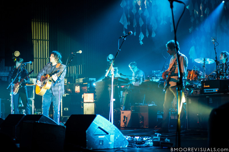 Nels Cline, Jeff Tweedy, Mikael Jorgensen, John Stirratt, and Glenn Kotche of Wilco perform on May 14, 2012 in support of The Whole Love at The Straz Performing Arts Center in Tampa, Florida