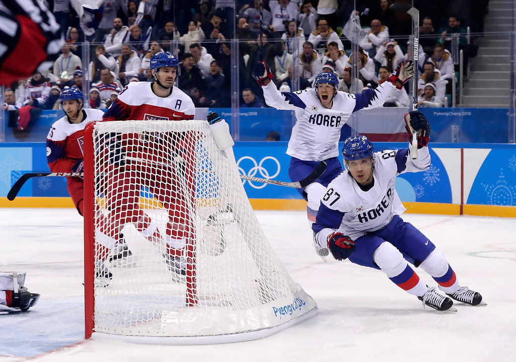 . Cho Minho (87), of South Korea, celebrates after scoring a goal against the Czech Republic during the first period of the preliminary round of the men\'s hockey game at the 2018 Winter Olympics in Gangneung, South Korea, Thursday, Feb. 15, 2018. (AP Photo/Frank Franklin II)