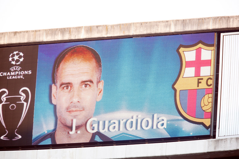 The image of Guardiola on the electronic scoreboard before the UEFA Champions League Semifinals game between Real Madrid and FC Barcelona, Bernabeu Stadiumn, Madrid, Spain