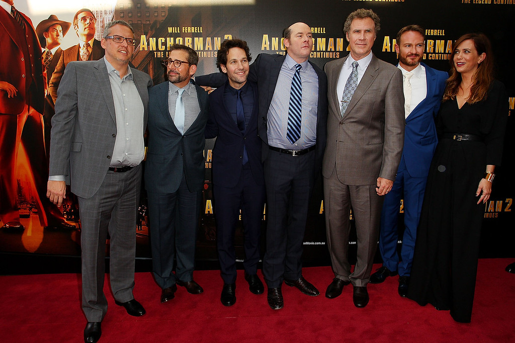 ". Adam McKay, Steve Carell, Paul Rudd, David Koechner, Will Ferrell, Josh Lawson and Kristen Wiig arrive at the ""Anchorman 2: The Legend Continues\"" Australian premiere at The Entertainment Quarter on November 24, 2013 in Sydney, Australia.  (Photo by Lisa Maree Williams/Getty Images)"