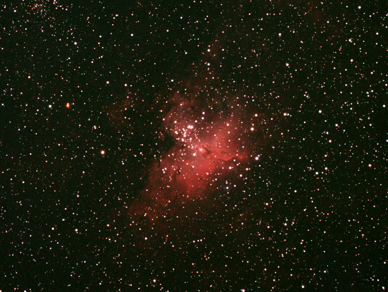 Messier M16 - NGC6611 - Gum 83 - Eagle Nebula and Cluster - 1/4/2011 (Re-processed cropped stack)