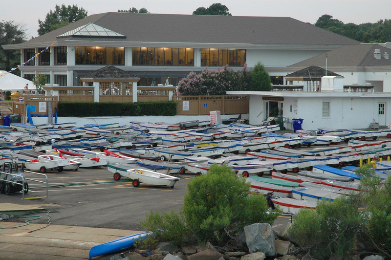 Boats covered up for the night at Norfolk Yacht and Country Club.