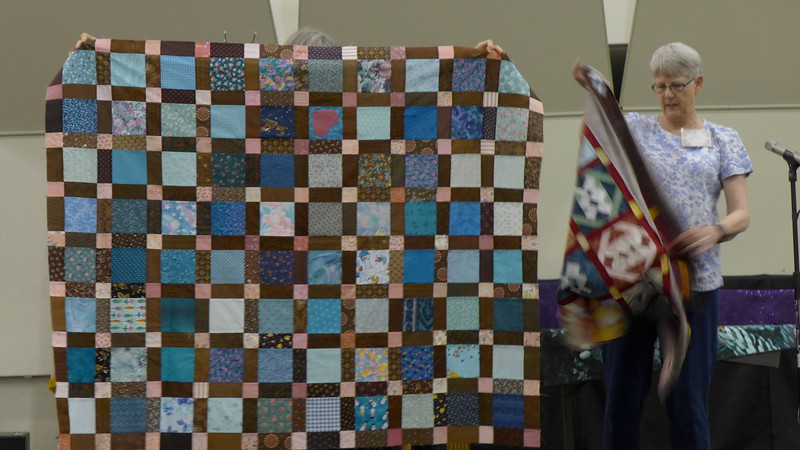 Beth Donaldson showed a number of quilt tops that are destined for the MSU Teal Project.  Quilts that will be given to survivors of Larry Nassar  abuse.