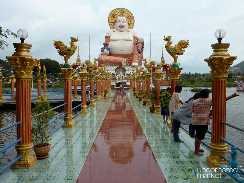 Walking Up to Laughing Buddha at Wat Plai Laem - Koh Samui, Thailand
