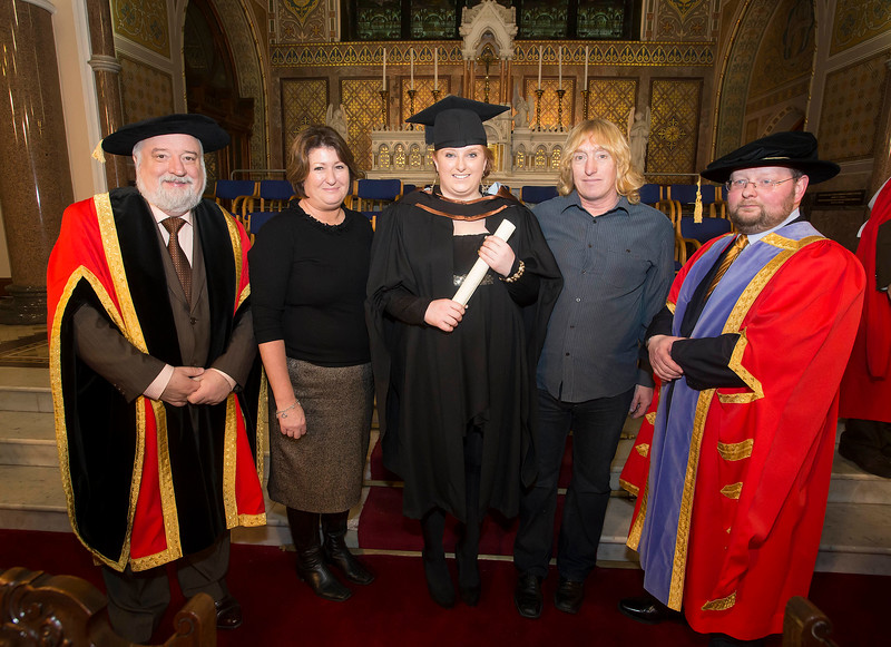 Pictured is Rachel Seymore, Thurles who graduated Bachelor of Arts (Hons) in Early Childhood Studies. Also pictured are Jack Walsh, Deputy Chairperson Govering body, Dr. Derek O'Byrne, Registrar of Waterford Institute of Technology (WIT) and Francis and Tony Seymore. Picture: Patrick Browne.