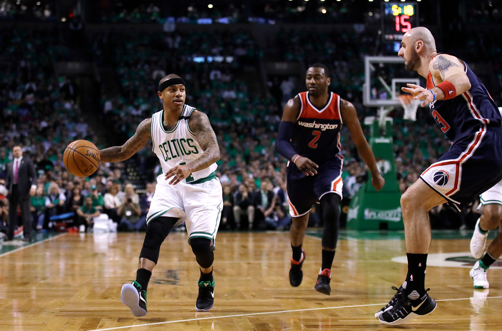 . Boston Celtics guard Isaiah Thomas (4) drives during the first half of Game 7 of an NBA basketball second-round playoff series Boston, Monday, May 15, 2017. (AP Photo/Charles Krupa)