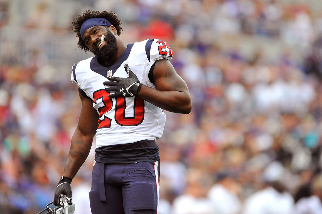 . Free safety Ed Reed #20 of the Houston Texans plays to the fans during a time out during the game against the Baltimore Ravens at M&T Bank Stadium on September 22, 2013 in Baltimore, Maryland.  (Photo by Larry French/Getty Images)