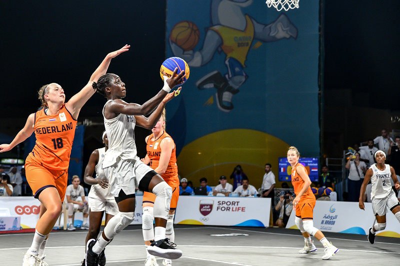 France and Netherlands in action in the Final of the International 3x3 Basketball Tournament during the 1st ANOC World Beach Games at Katara on October 16, 2019 in Doha, Qatar. Photo by Tom Kirkwood/SportDXB