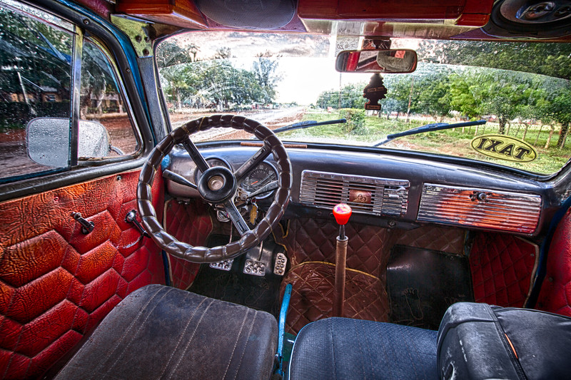 Inside Cuban taxi