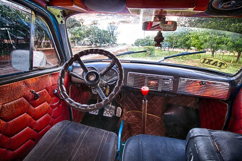 Inside Cuban taxi