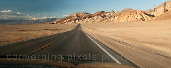 Driving along hwy 190 in Death Valley.