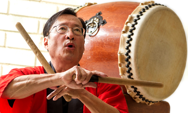 . Tom Kurai of the Taiko Center of Los Angeles teaches teens about Japanese taiko drumming at the Hacienda Heights Library Feb. 21, 2013.   (SGVN/Staff photo by Leo Jarzomb)