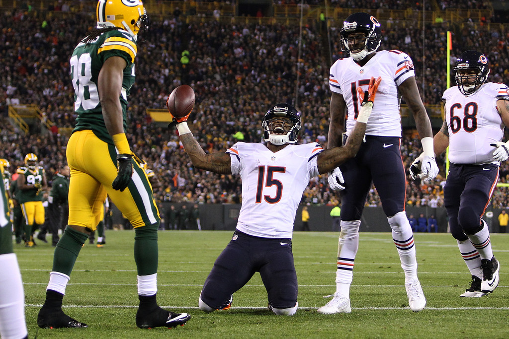 . Brandon Marshall #15 of the Chicago Bears celebrates after scoring a touchdown during the first quarter against the Green Bay Packers at Lambeau Field on November 04, 2013 in Green Bay, Wisconsin. (Photo by Mike McGinnis/Getty Images)