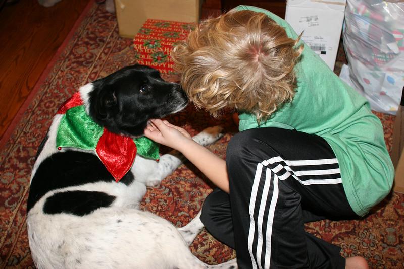 Christmas morning kisses