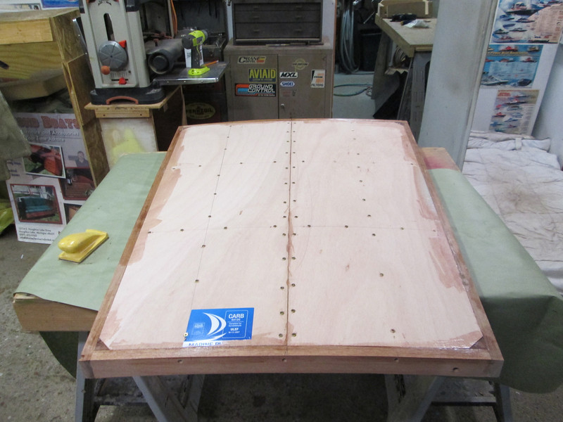Plywood installed on the hatch cover.