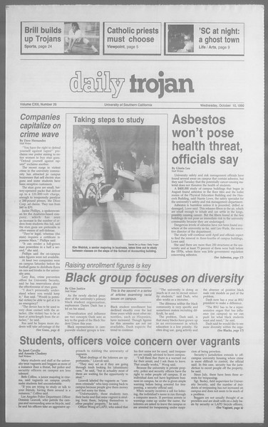 Daily Trojan, Vol. 113, No. 27, October 10, 1990