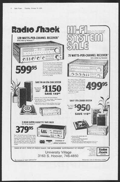 Daily Trojan, Vol. 75, No. 16, October 10, 1978