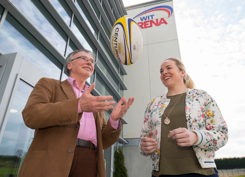 18/04/2017. Pictured at The WIT Arena at the augural WIT Arena Sporting Ambassador. Pictured is Niamh Briggs WIT Arena Sporting Ambassador with Prof. Willie Donnelly President of WIT. Picture: Patrick Browne