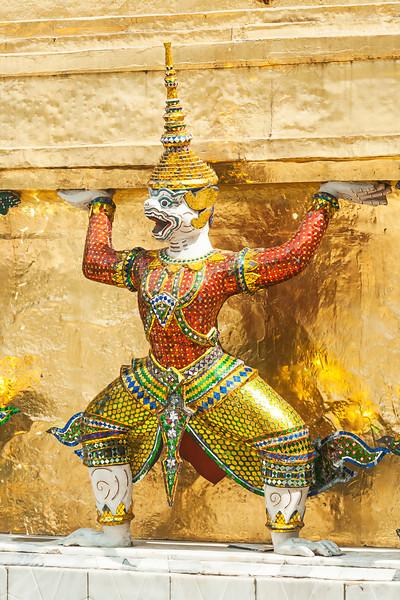 Bangkok, Grand Palace, Green Demon Guards statue