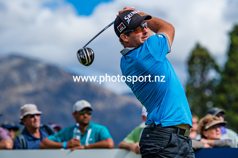 Ryan Fox from New Zealand tees off during Day 2 of the 2018 Handa New Zealand Golf Open.  Millbrook golf course, Arrowtown, New Zealand. Friday 2nd March 2018.  © Copyright Photo:/Clare Toia-Bailey/www.photosport.nz