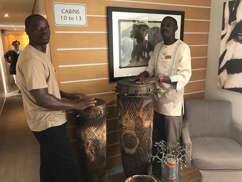 Farewell drumming leaving Zambezi Queen - Lisa Swenson