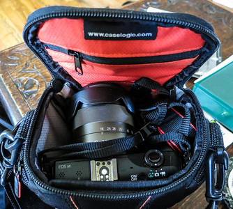 EOS M in CaseLogic bag with lenses