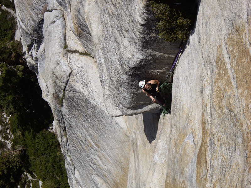 Laura at the belay on P3 of Hoodwink.