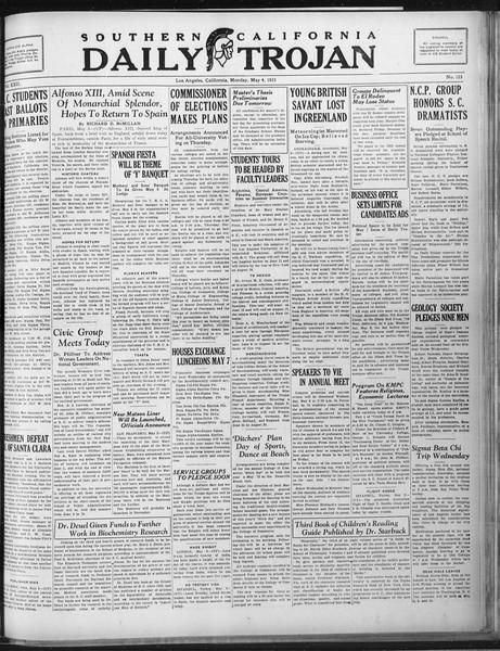 Daily Trojan, Vol. 22, No. 135, May 04, 1931