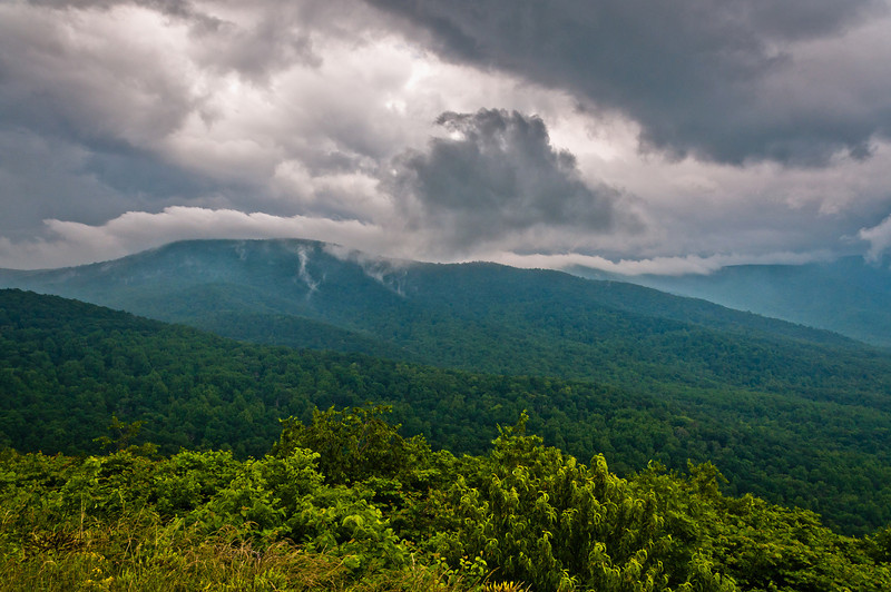 View of the Appalachians and Storm Clouds from Skyline Drive, Shenandoah National  Park, Virginia.
