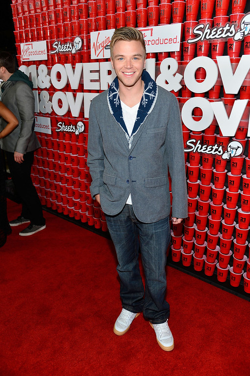 """. Actor Brett Davern attends Relativity Media\'s \""""21 and Over\"""" premiere at Westwood Village Theatre on February 21, 2013 in Westwood, California.  (Photo by Frazer Harrison/Getty Images for Relativity Media)"""