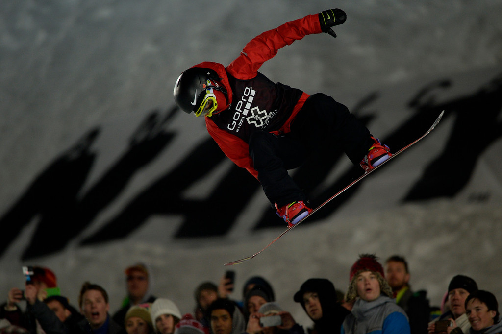 . Cai Xuetong rides during the women\'s snowboard half pipe final. Winter X Games on Saturday, January 24, 2015. (Photo by AAron Ontiveroz/The Denver Post)