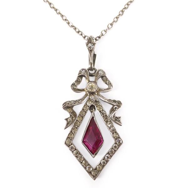 Antique Edwardian Silver Bow Paste Pendant Necklace