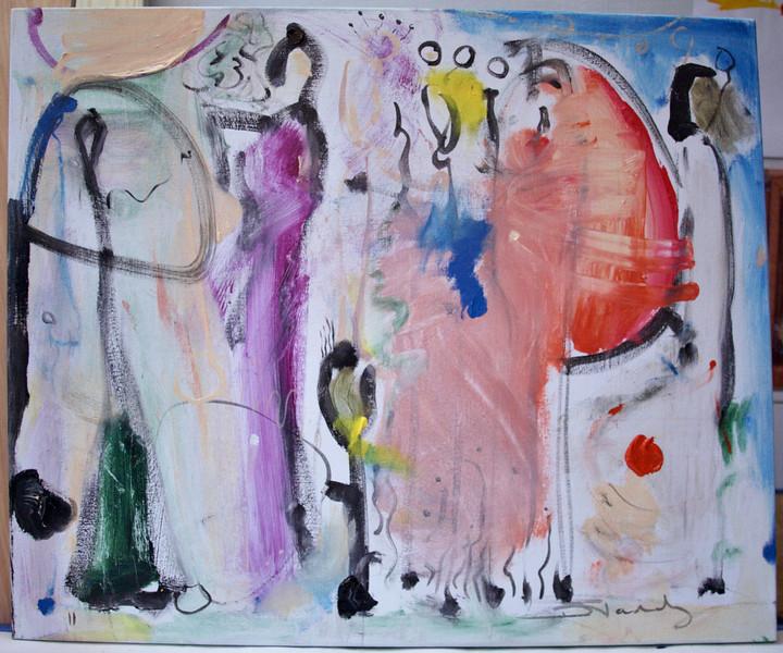 "2011, 30"" x 40"". Geisha, Acrylic on canvas. (Owned by Dave and Britt Rust)."