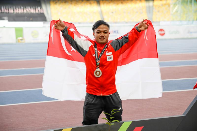 PARA ATHLETICS - MUHAMMAD DIROY BIN NORDIN in victory ceremony & representing Singapore in Men Shotput Finals (F40/41)  at Bukit Jalil National Stadium, KL on September 21th, 2017 (Photo by Sanketa Anand)