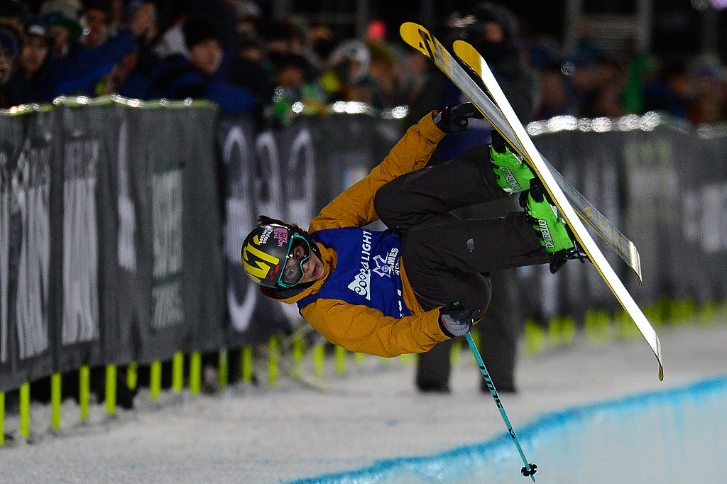 . ASPEN, CO - JANUARY 29: Janina Kuzma rotates in her first run during the finals of women\'s ski half pipe at Winter X Games 2016 at Buttermilk Mountain on January 29, 2016 in Aspen, Colorado. Maddie Bowman won her fourth consecutive gold medal with a score of 85.33. (Photo by Brent Lewis/The Denver Post)