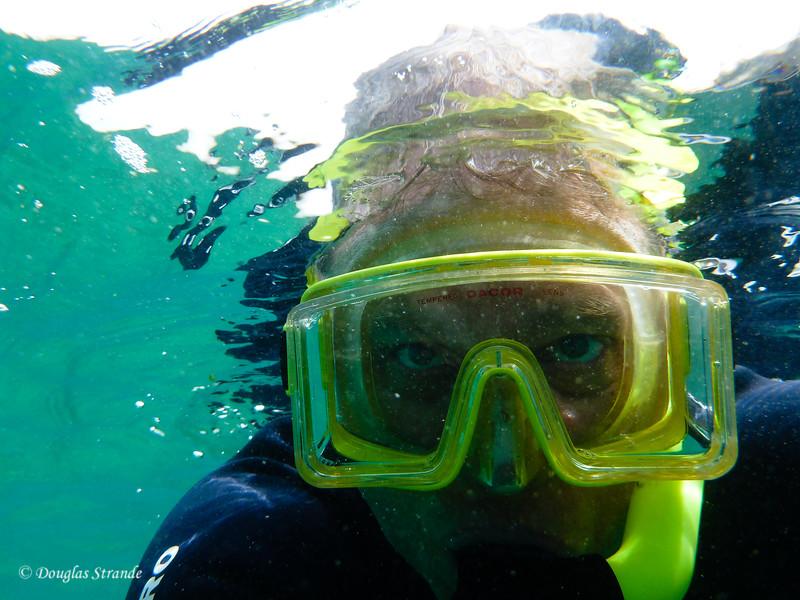 Selfie: Doug snorkeling at Cormorant Point, Floreana Island