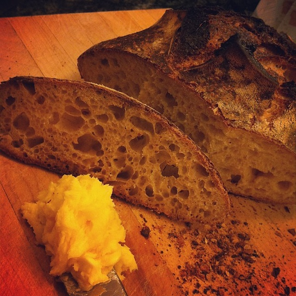 On the table tonite: country white bread with honey-butter #food #foodie #jux