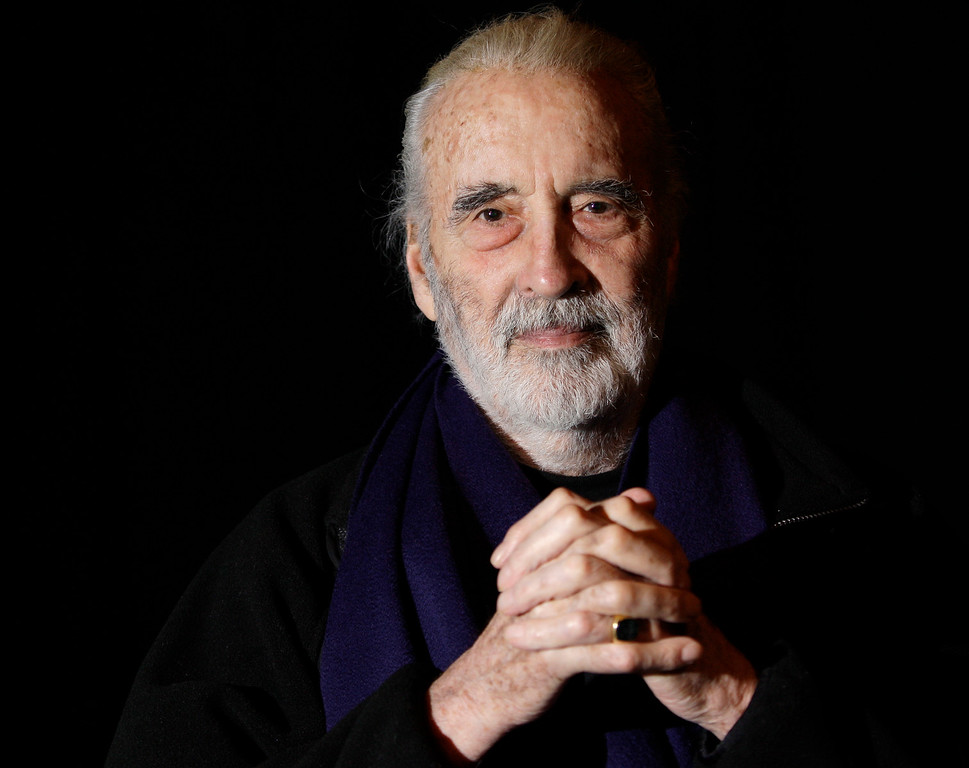 . In this file photo dated Friday March 5, 2010, British actor Sir Christopher Lee is photographed before his interview with APTN, at the AP office in north London.  (AP Photo/Joel Ryan)