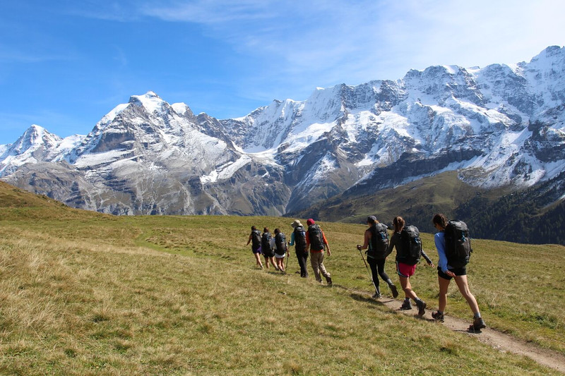 Hiking to Mürren with the Eiger, Mönch, and Jungfrau Mountains to the right
