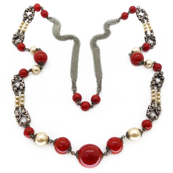 VINTAGE ART DECO FRENCH RED GLASS FAUX PEARL SILVER CHAIN NECKLACE