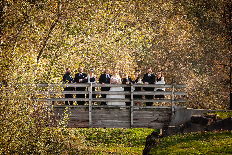 Fun fall shot of the bridal party from yesterday's wedding!
