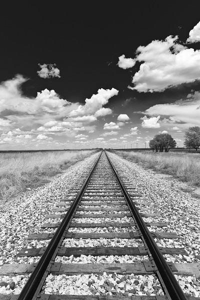 Rail Road and Clouds in New Mexico, USA
