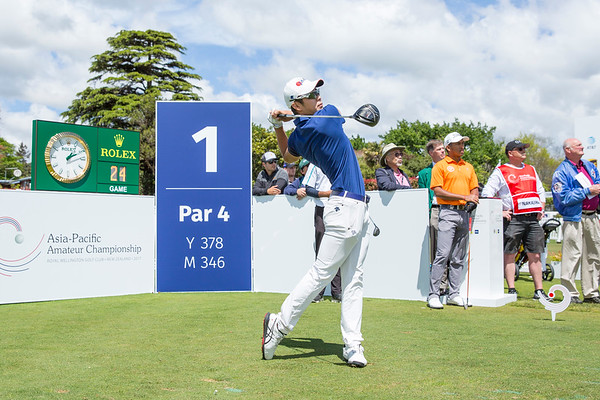 Keita Nakajima from Japan hitting off the 1st tee on Day 1 of competition in the Asia-Pacific Amateur Championship tournament 2017 held at Royal Wellington Golf Club, in Heretaunga, Upper Hutt, New Zealand from 26 - 29 October 2017. Copyright John Mathews 2017.   www.megasportmedia.co.nz