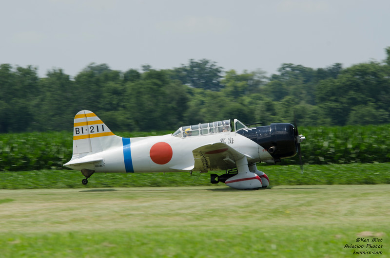"Replica of a Japanese ""Val"" dive bomber at the 2015 National Warplane Museum Geneseo Airshow.  The aircraft is actually a Vultee B-13 trainer with wings lengthned by 4 feet and a stretched monocoque."