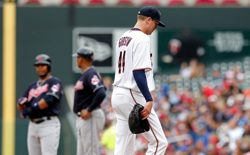 . Minnesota Twins pitcher Kyle Gibson heads to the dugout after being pulled in the fifth inning of the first game of a baseball doubleheader against the Cleveland Indians Thursday, Aug. 17, 2017, in Minneapolis. (AP Photo/Jim Mone)