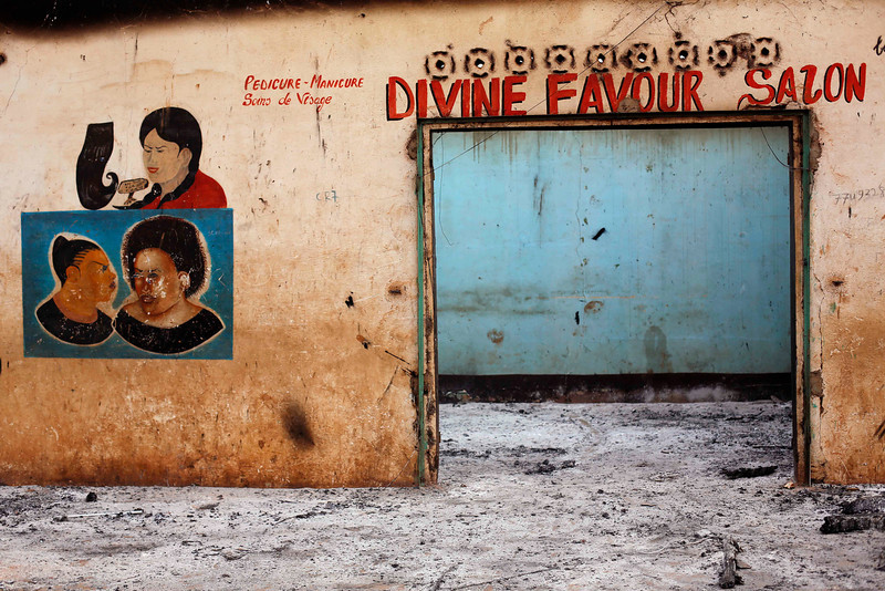 . A Muslim owned hair salon stands looted in the Miskin district of Bangui, Central African Republic, Tuesday Feb. 4, 2014. (AP Photo/Jerome Delay)