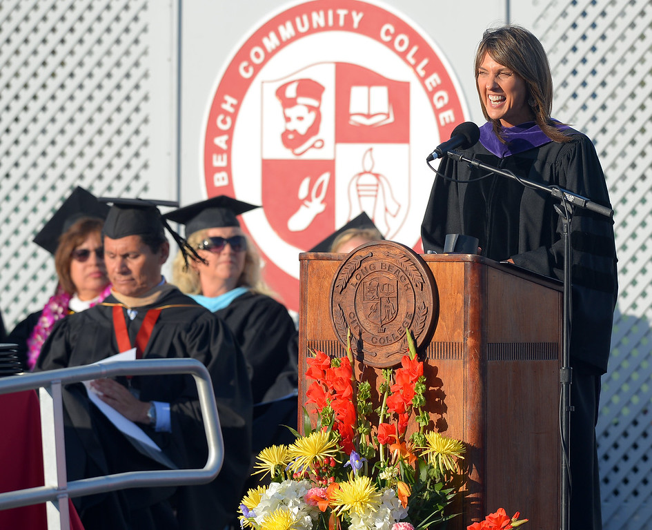 . Long Beach City College\'s class of 2014 receive their certificates and degrees at Veterans Memorial Stadium in Long Beach, CA on Thursday, June 5, 2014. Long Beach City Auditor Laura Doud delivers the keynote address. (Photo by Scott Varley, Daily Breeze)