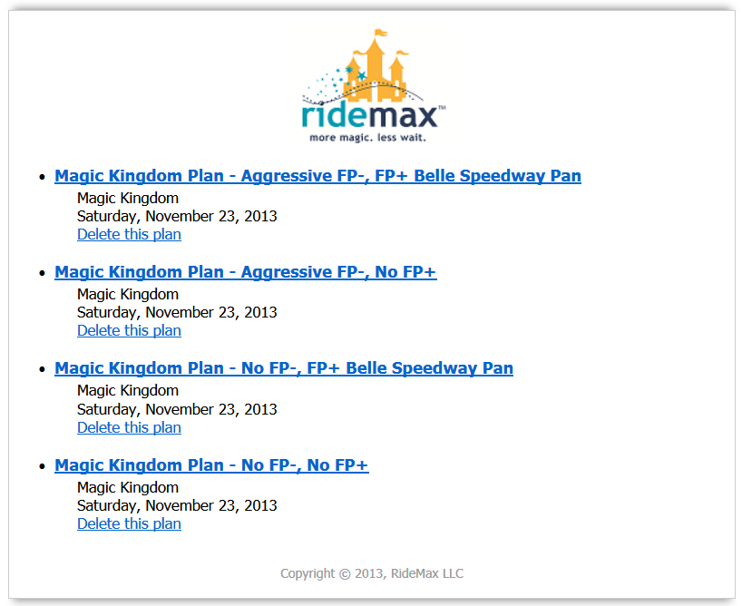 RideMax for Disney World - Sample Plans with FastPass Plus Options