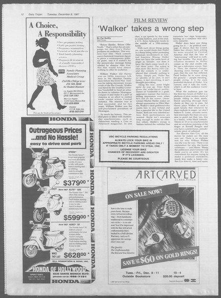 Daily Trojan, Vol. 105, No. 65, December 08, 1987